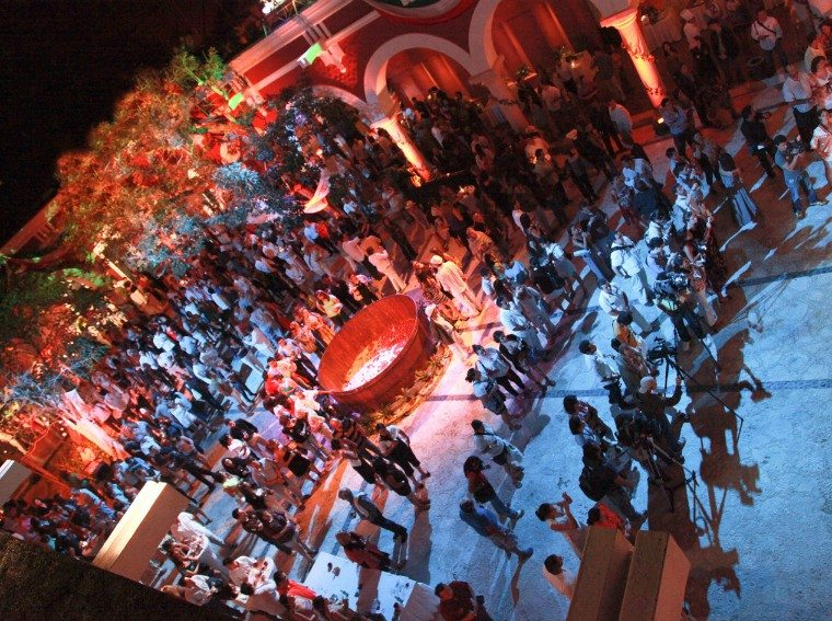 Guests party at the Riviera Maya Mexican Wine Festival closing ceremony