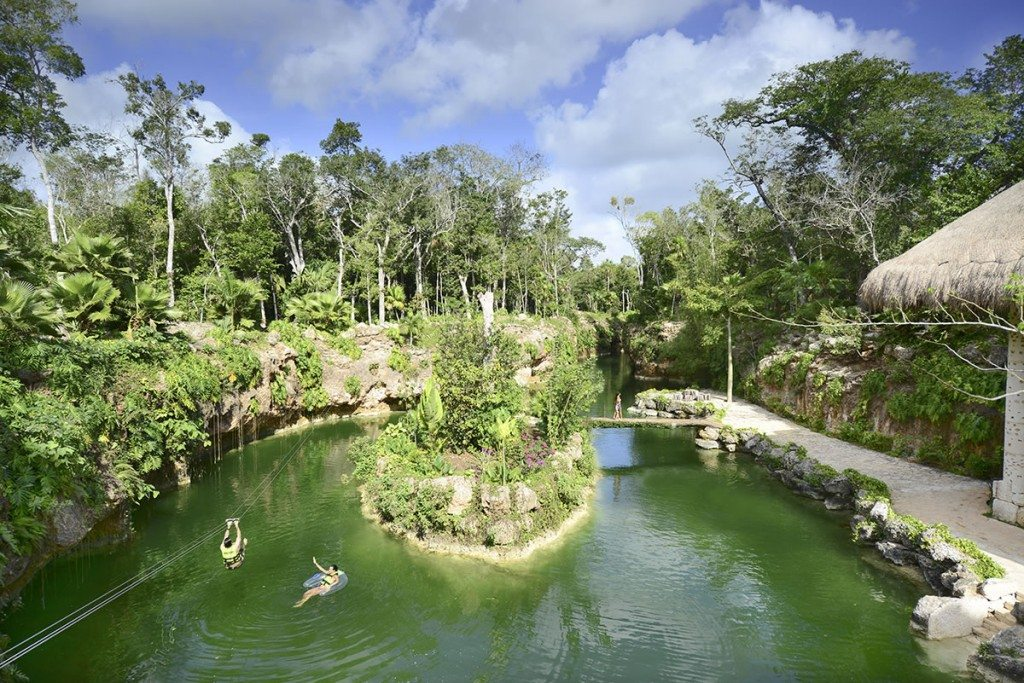 An open cenote at Xenotes Park outside of Playa del Carmen