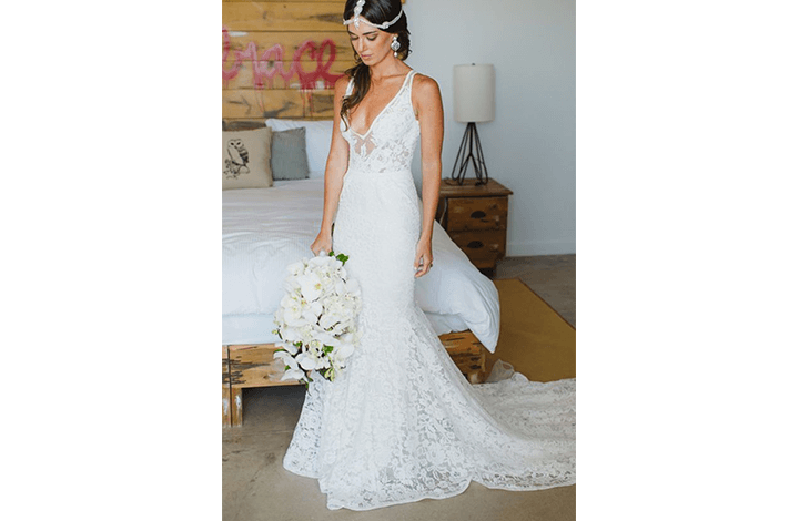 Plunging Mermaid Tail Beach Wedding Dress