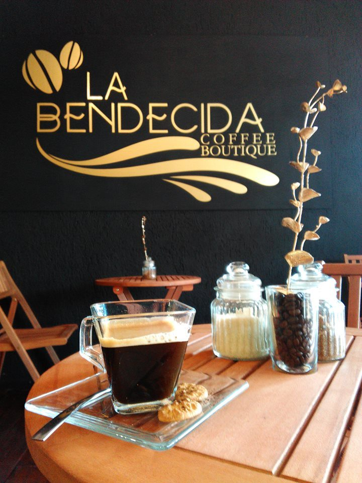 Cup of coffee on table at La bendecida coffee boutique