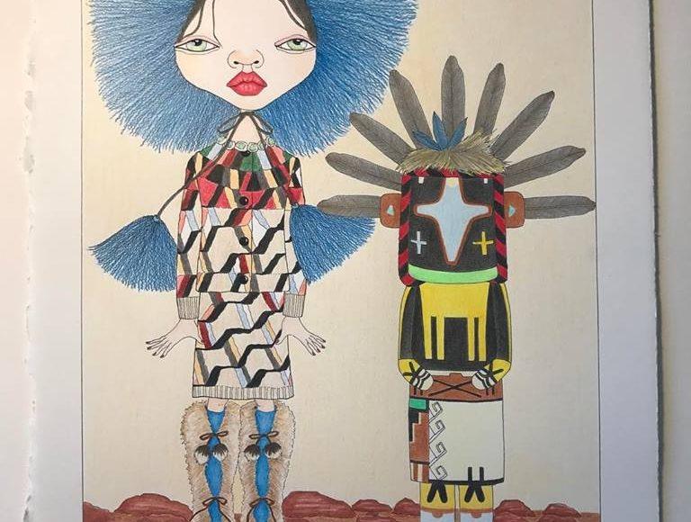 Charles Hart-Benton illustration on display in Playa del Carmen