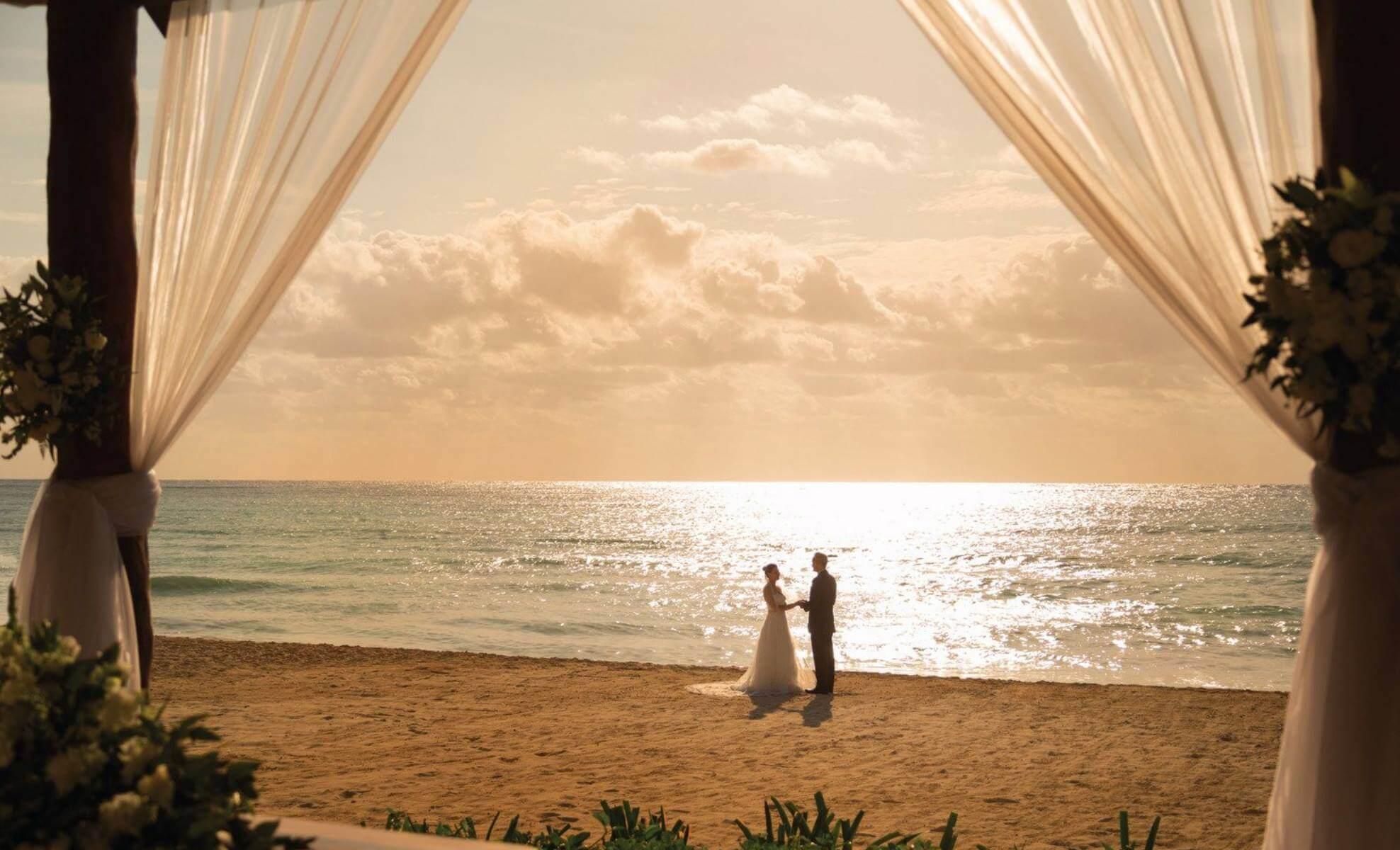 Beach wedding at panama jack