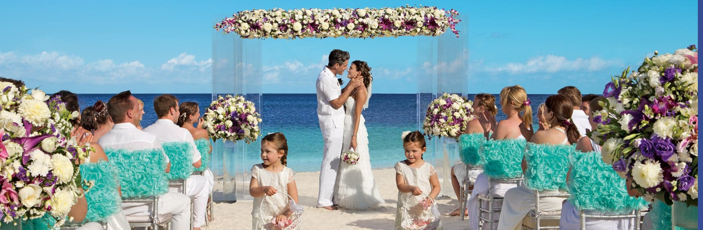 Dreams resort wedding on the beach