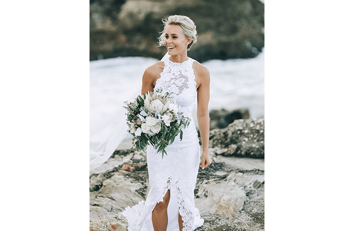 High Neck Beach Wedding Dress