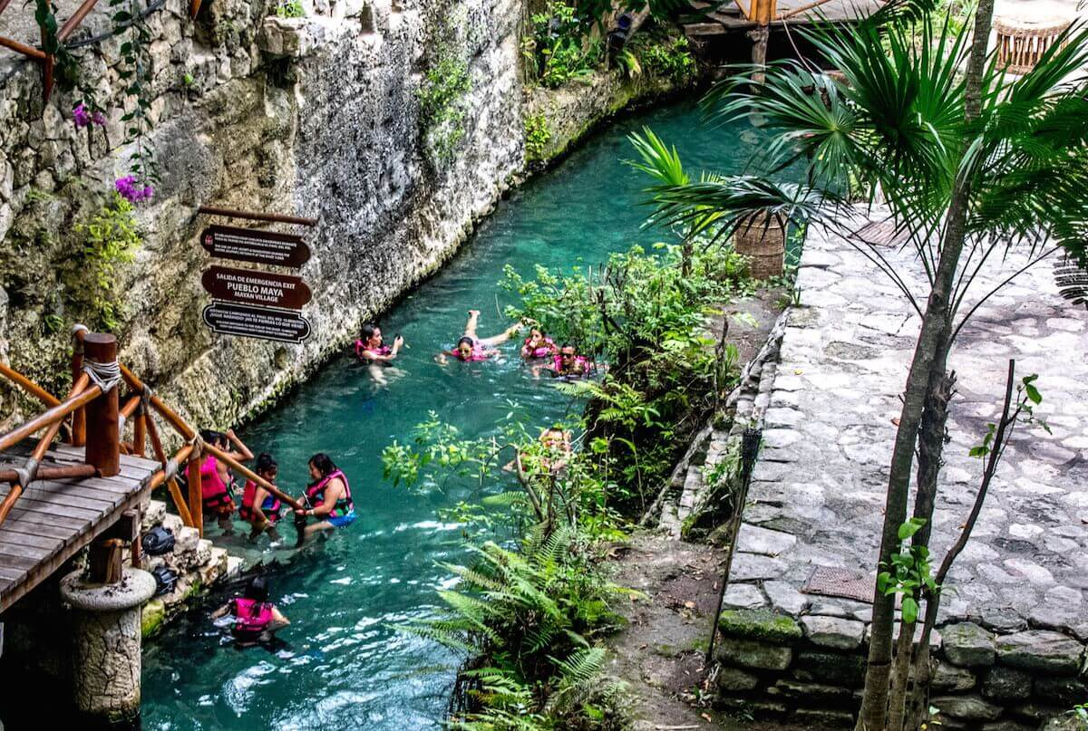 People swimming at Xcaret.