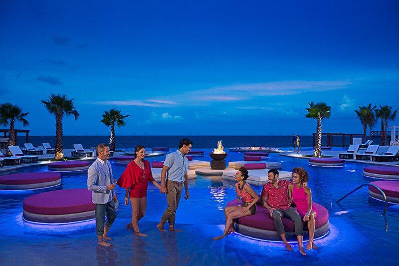 Xhale Pool at Breathless Riviera Maya at night