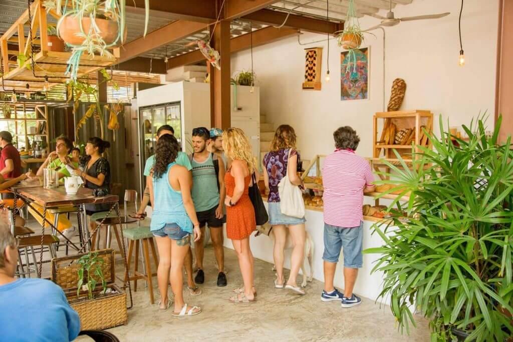 People ordering at the Chou Chou Vegan Restaurant