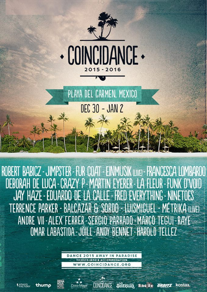 Coincidance 2016's list of selected DJ's on poster