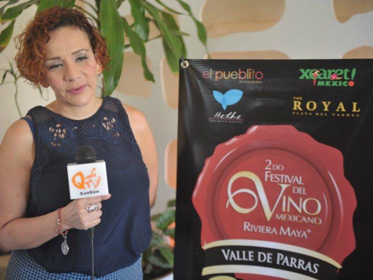 Clementina del Tejo Corral speaks at Riviera Maya Mexican Wine Festival press conference