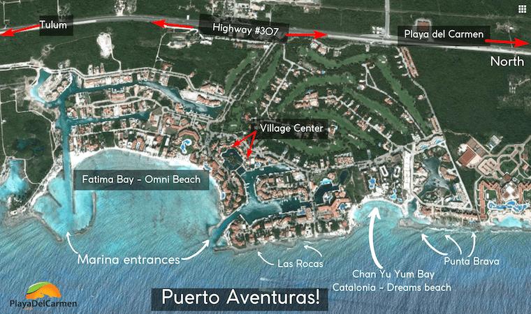Puerto Aventuras Aerial Map