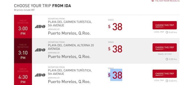 Puerto morelos bus timetable for the ADO service.