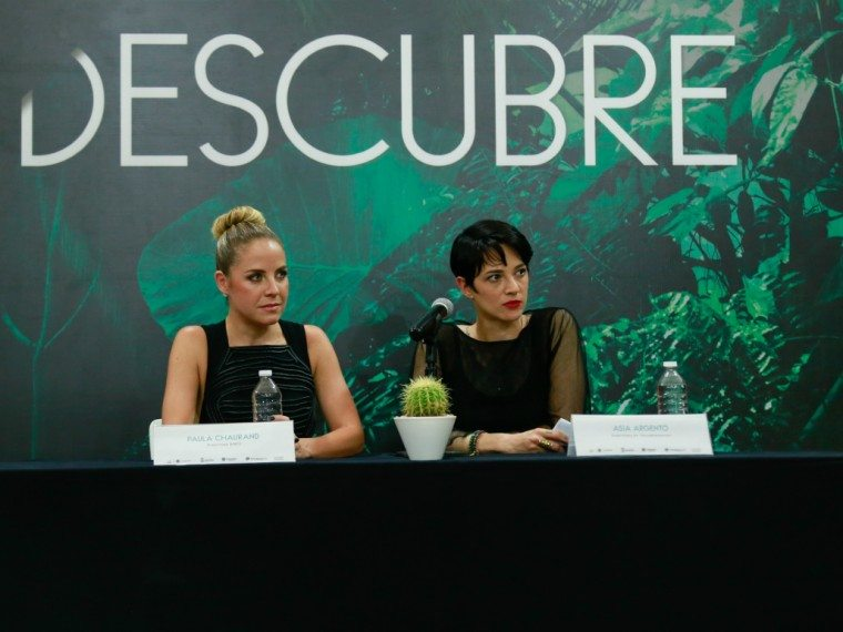Italian director Asia Argento and RMFF director Paula Chaurand at a press conference