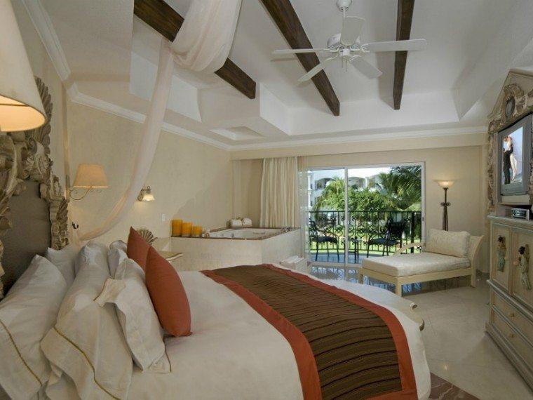 The interior of a Jr. Suite at The Royal Playa del Carmen