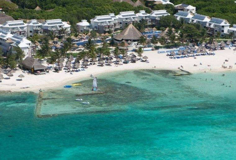 An aerial view of Sandos Caracol, one of the most sought after Playa del Carmen resorts.