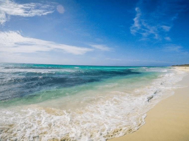Beautiful blue beach in playa del carmen