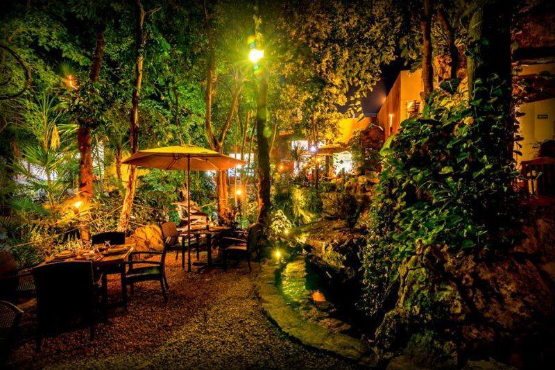 Outside sitting area in the Aldea Corazon mexican restaurant