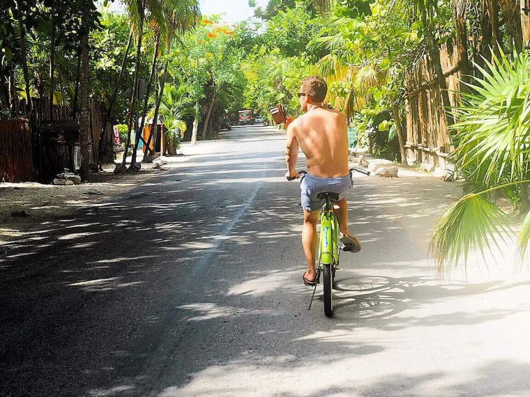 Bicycling in tulum town