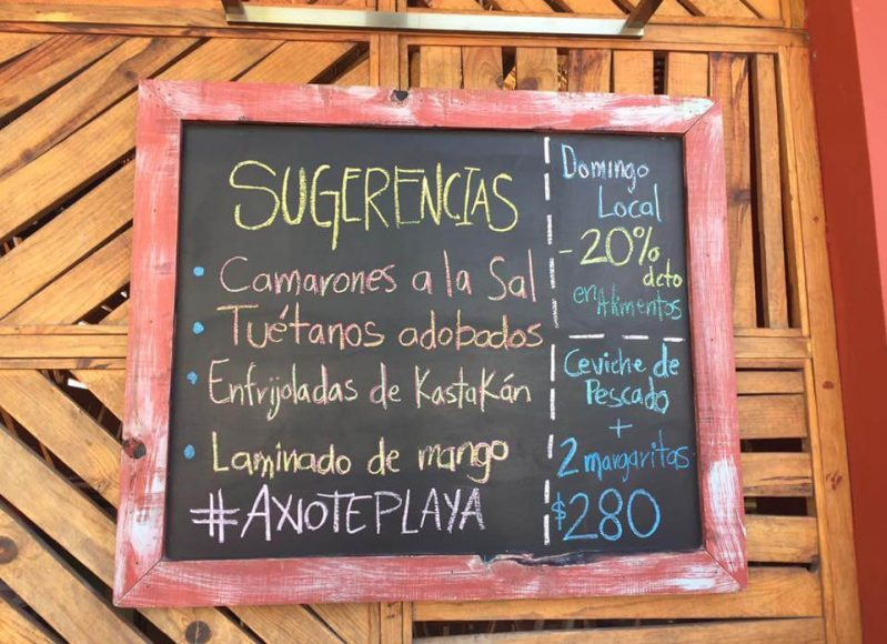 Restaurante Axiote Playa del Carmen daily specials