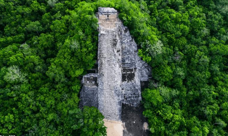 birds eye view of Coba Ruins Mexico