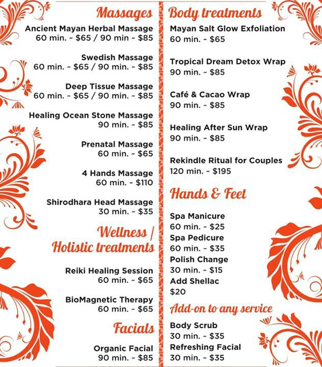 spa prices at the BRIC SPA