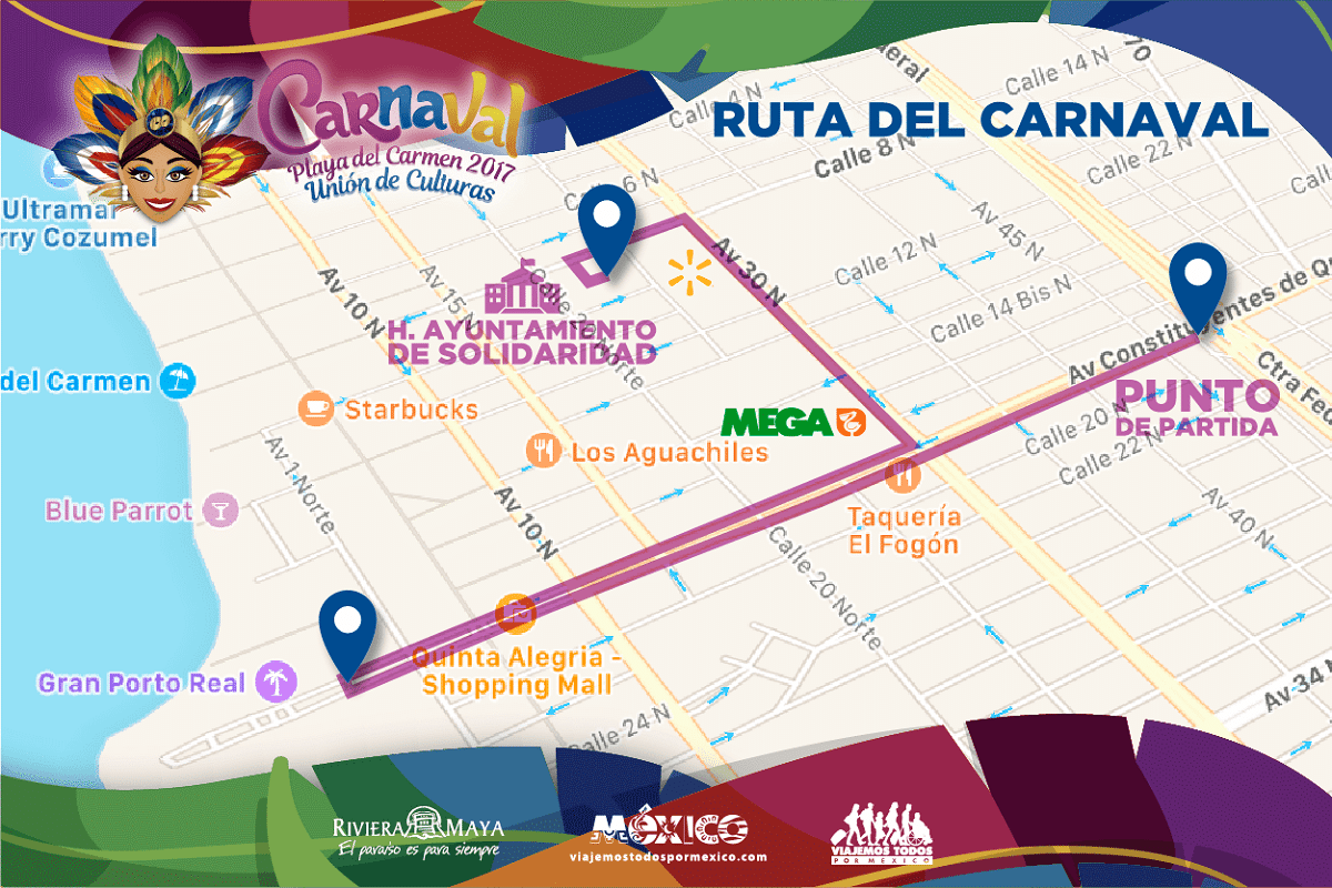 Carnival Playa del Carmen 2017 map /route