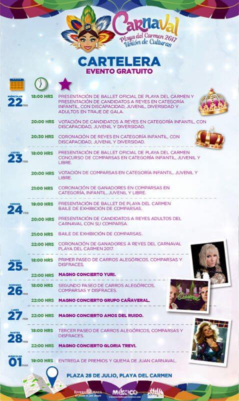 Carnaval Playa del Carmen 2017 program