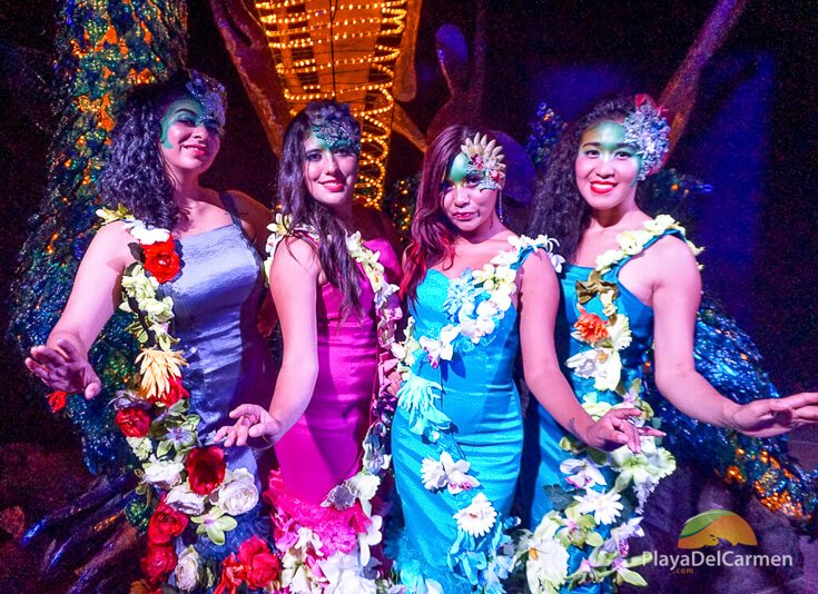 Hostesses pose for the camera at Cirque Du Soleil Riviera Maya