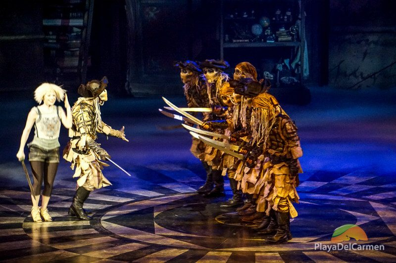 Joya hides behind a pirate at the Cirque Du Soleil Riviera Maya