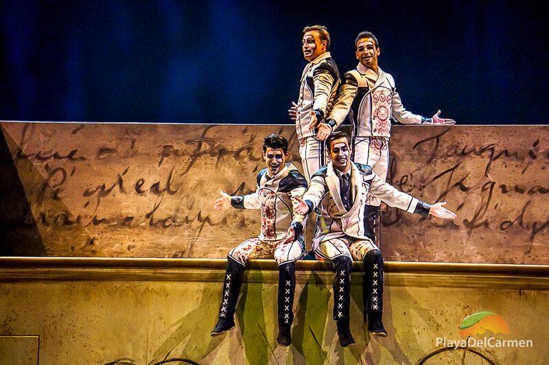 4 men signing at the Cirque Du Soleil theater Riviera Maya