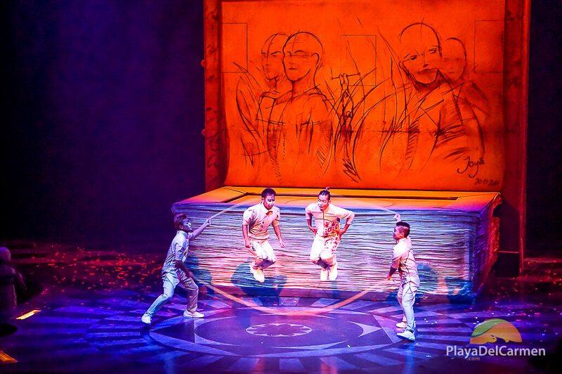 Actors jump rope at Cirque Du Soleil Riviera Maya