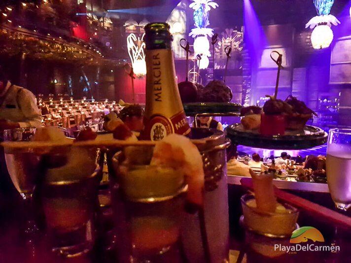 Champagne and tapas at Cirque Du Soleil Riviera Maya