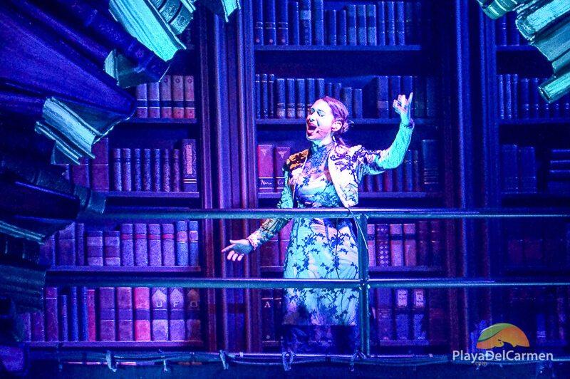 A singer performs at Cirque Du Soleil Riviera Maya