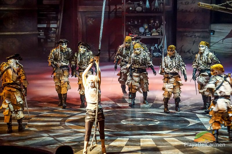 Pirates attempt to capture Joya at the Cirque Du Soleil theater in the Riviera Maya