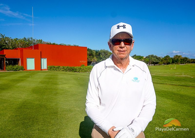 Jim McLean in front of his golf academy at El Camaleon Mayakoba Mexico