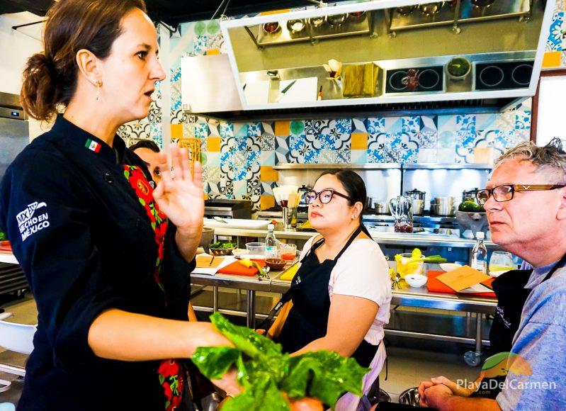 Chef Karla Enciso explains chaya at El Pueblito Cooking School