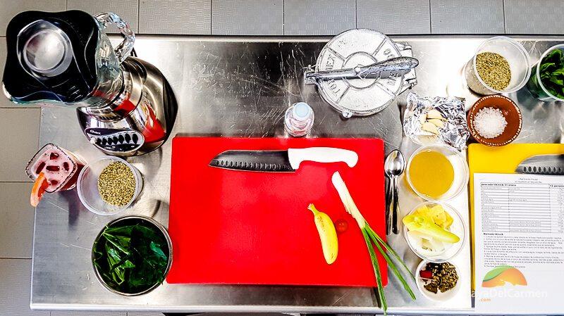 El Pueblito Cooking School prep table in Playa del Carmen Mexico