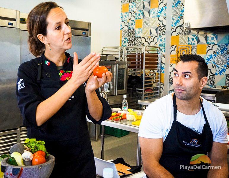 Chef Karla Enciso at El Pueblito Cooking School Mayakoba