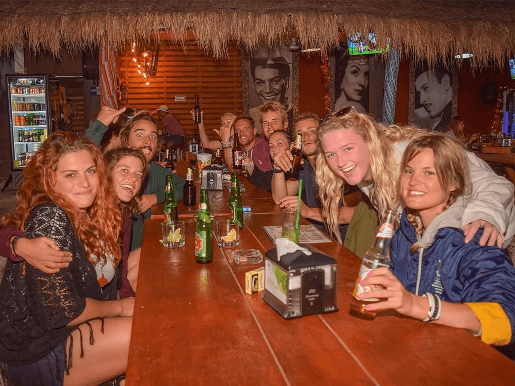 Meeting friends in Playa del Carmen