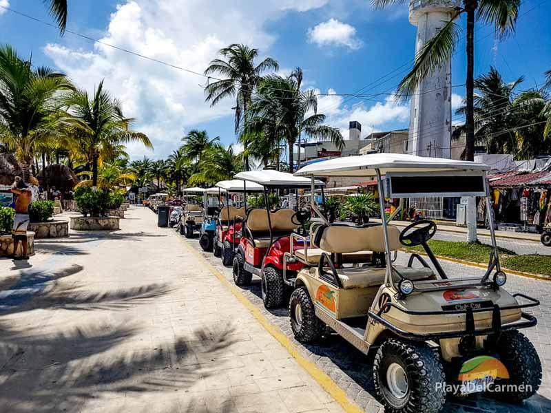 Isla Mujeres golf carts on street