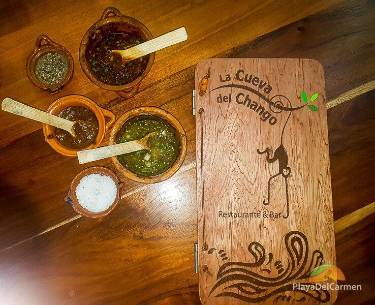 Menu and fresh ingredients at La Cueva del Chango