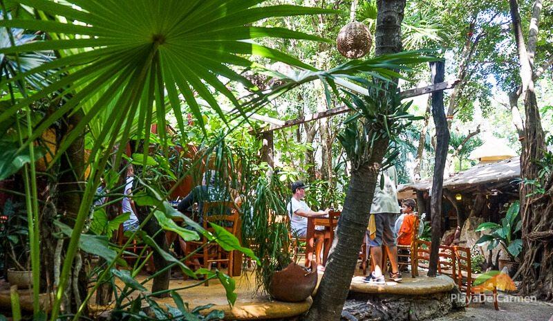 Outisde dinning tables at La Cueva del Chango Playa