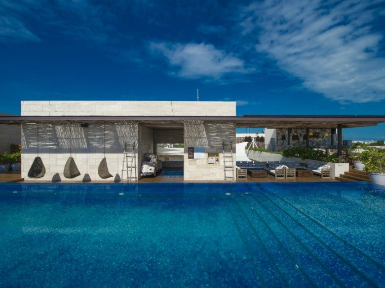 The rooftop pool at Lat 20 by Live Aqua in Playa del Carmen