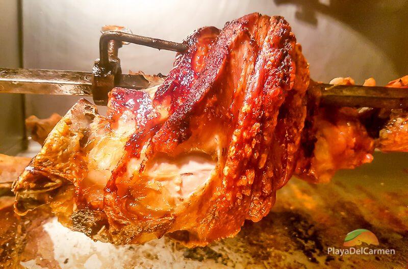 roasting meat at Manne's Biergarten