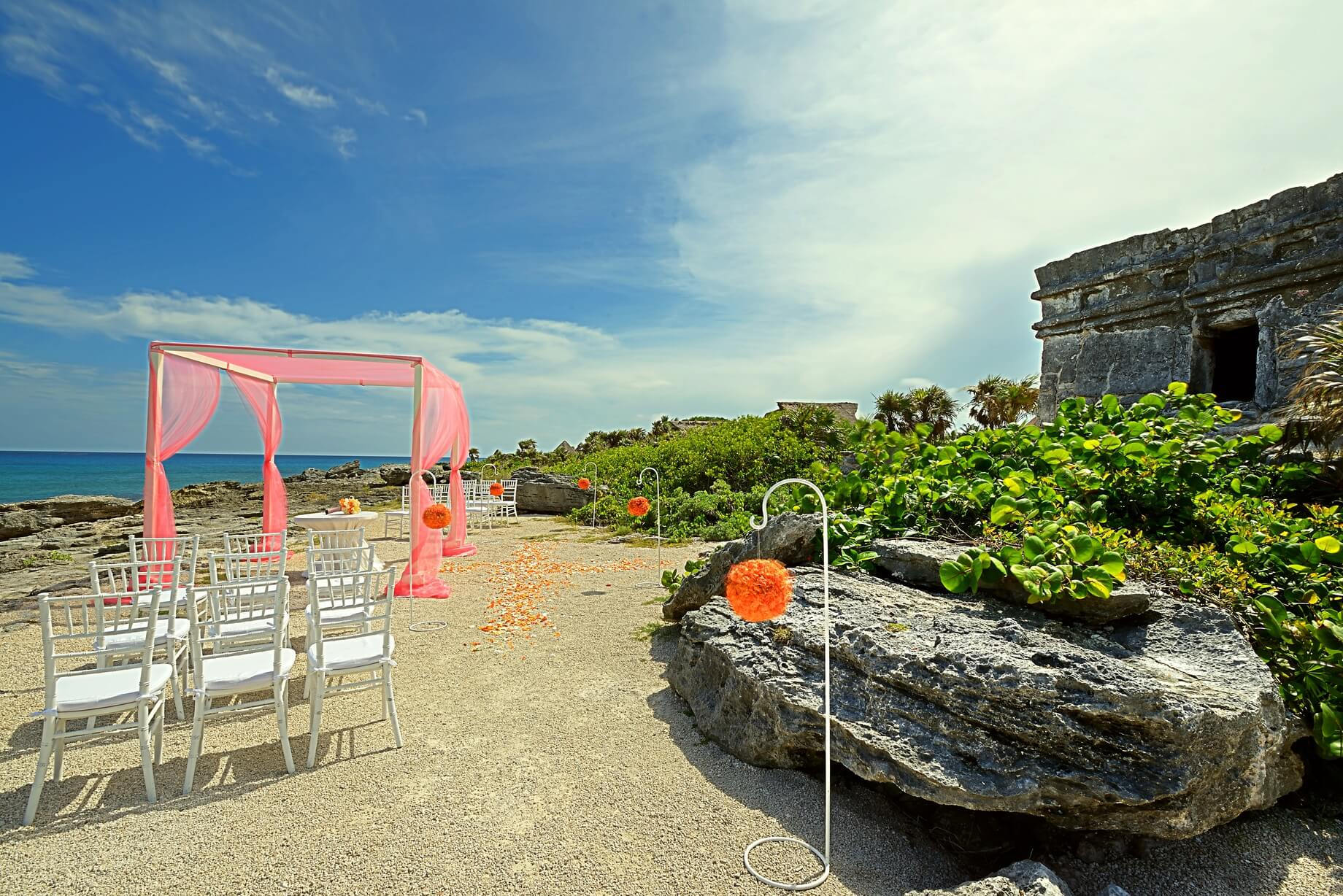 mayan wedding ceremony at xcaret in Playa del Carmen