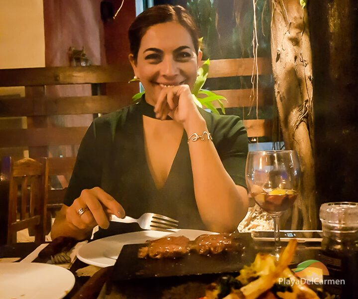 Person eating at Patanegra restaurant in Playa del carmen