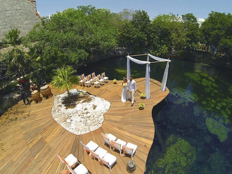 Sandos Caracol Cenote deck wedding