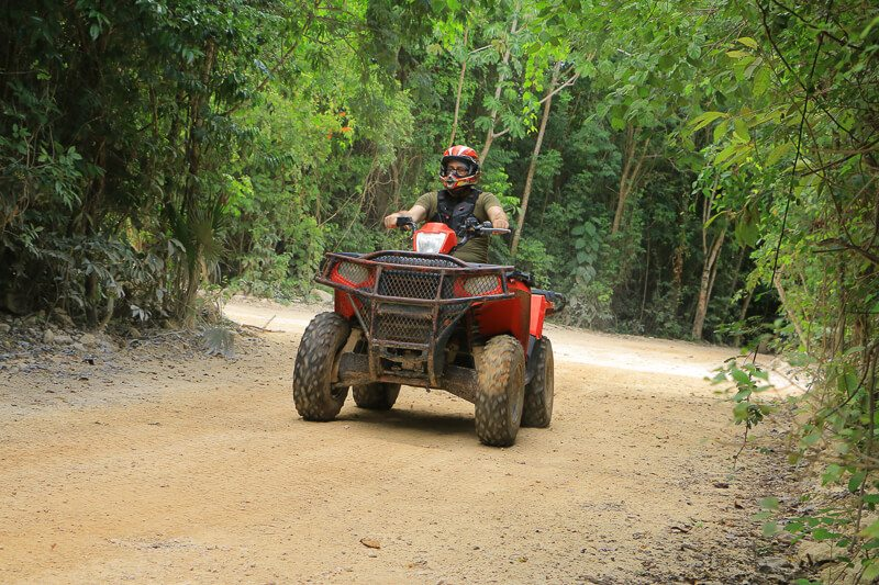 Person on dune buggy at selvatica, cancun