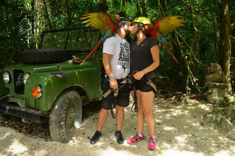 Couple at Selvatica Cancun with wild animals