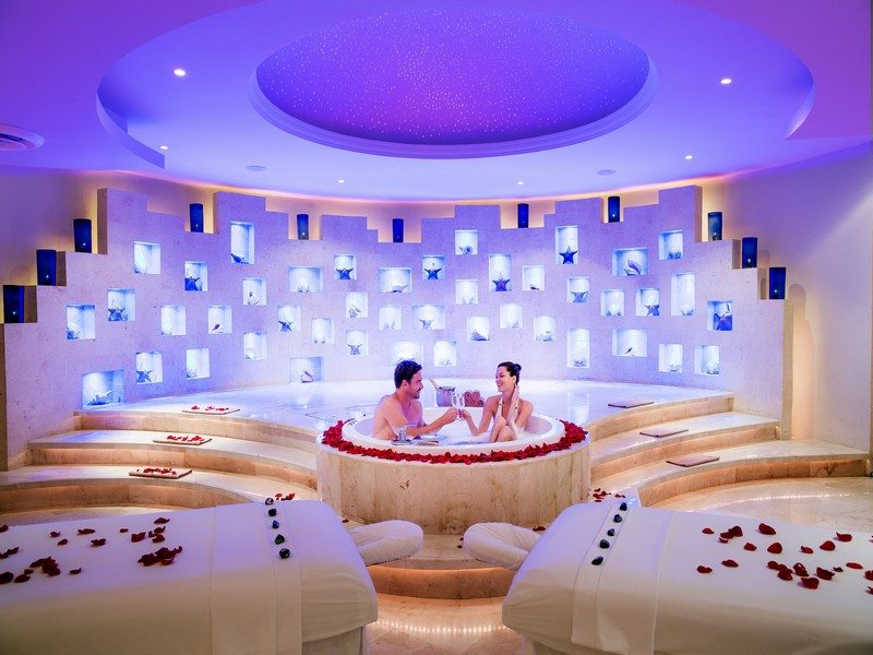 Couple in Jacuzzi Spa at hotel