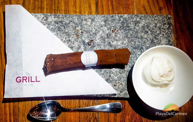 Chocolate cigar at The Grill 1 26 in Playa del Carmen